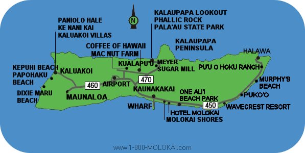 Molokai Hawaii Map and Directions